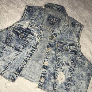 Cropped jean vest.